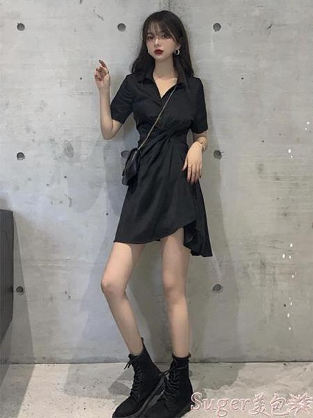 襯衫洋裝 連身裙2021年早春桔梗法式小眾設計感仙女約會溫柔甜美小黑裙夏天 suger
