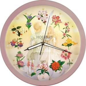 【鐘情坊 JUSTIME】14吋 簡約易讀 設計百搭款亮彩花園夜光掛鐘夜光花面粉紅色框