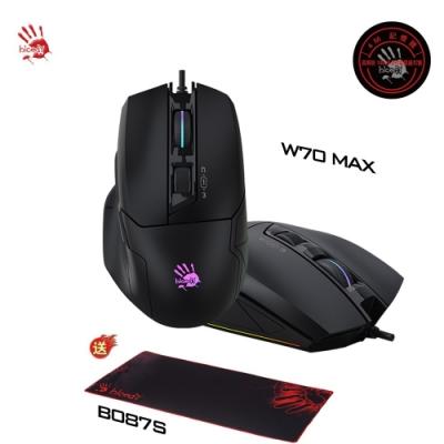 【A4 Bloody】W70 MAX 靈敏調校RGB彩漫滑鼠(未激活)黑色-贈專用電競鼠墊