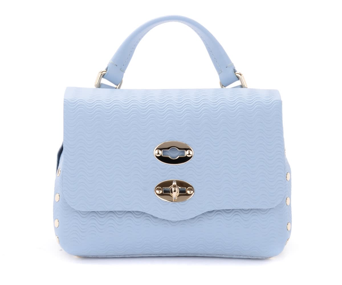 Zanellato Postina Cachemire Baby Bag In Light Blue Leather
