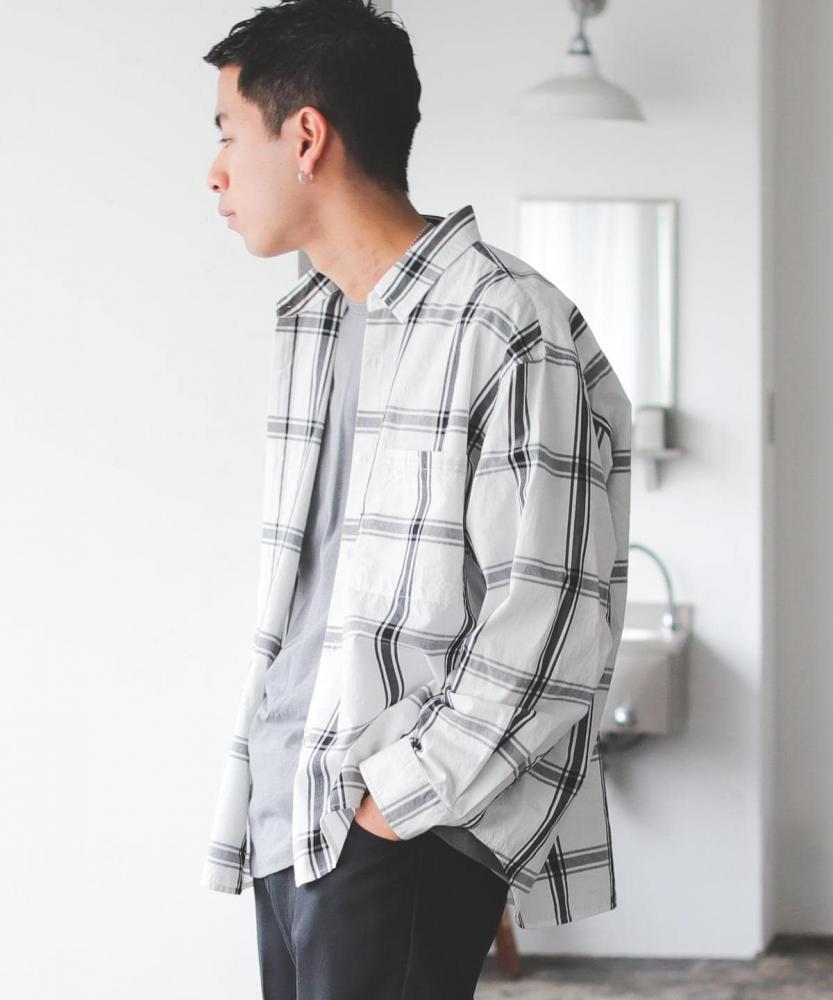 BEAMS / 男裝 格紋 寬版 襯衫