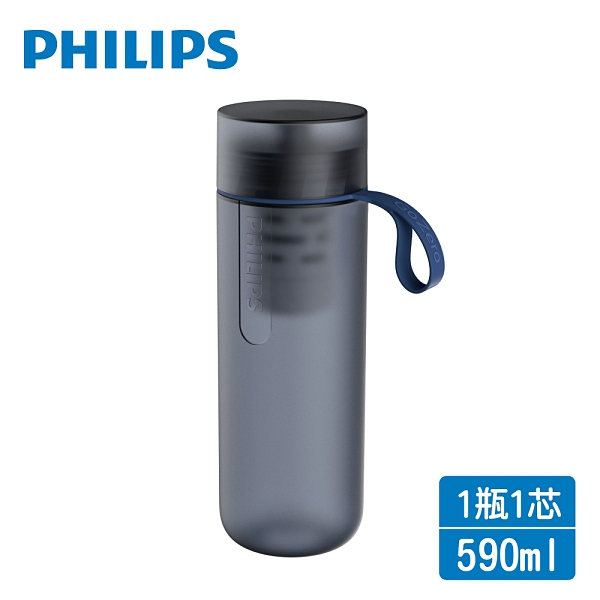 PHILIPS飛利浦 微濾隨身濾水瓶590ml-酷藍 AWP2712BL