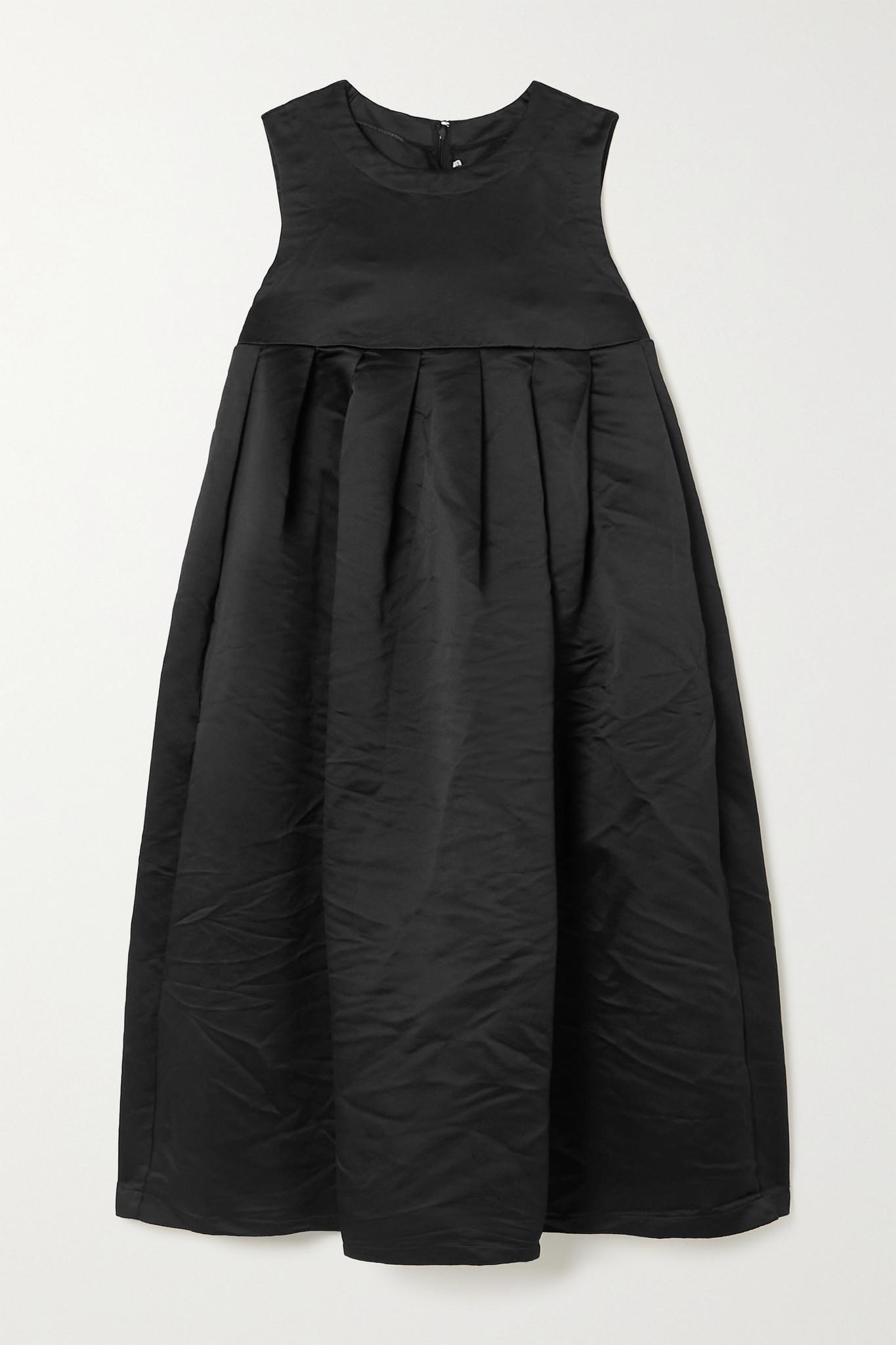COMME DES GARÇONS GIRL - 褶裥褶皱缎布中长连衣裙 - 黑色 - medium
