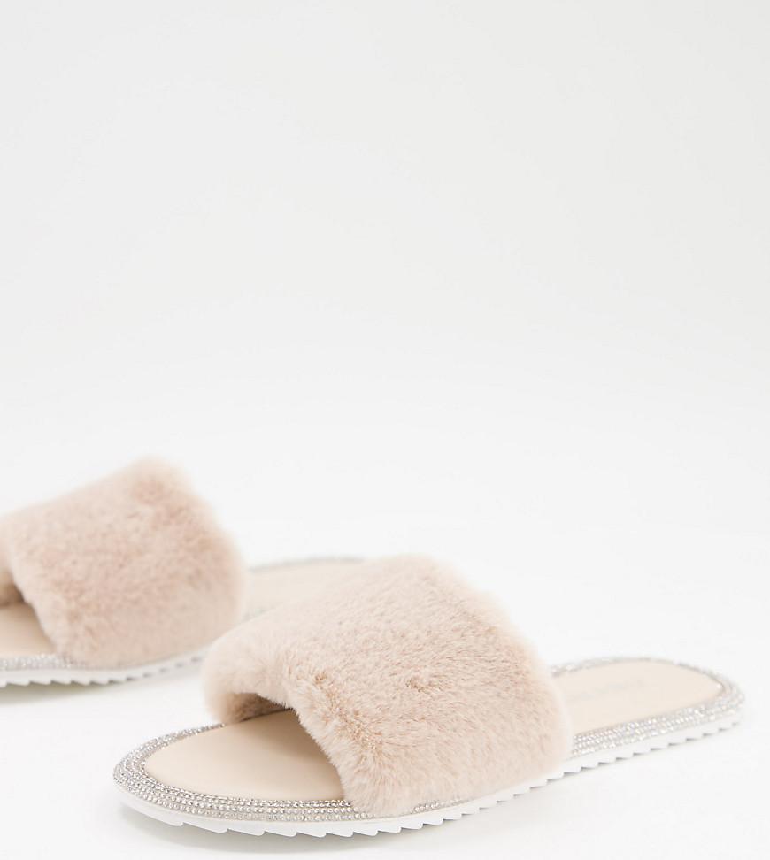 Public Desire Wide Fit Starlight fluffy slippers in cream-White