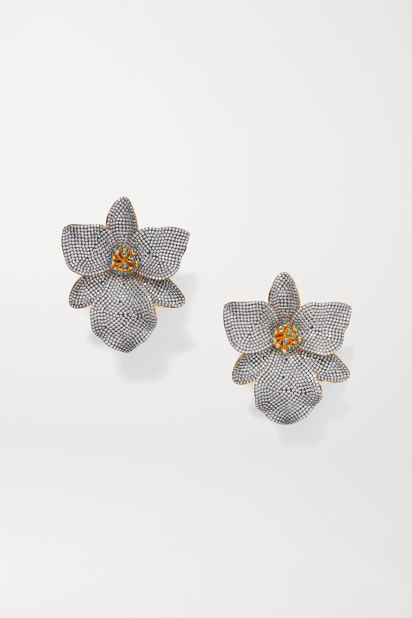BEGÜM KHAN - Singapore Orchids 水晶、搪瓷、镀金夹扣式耳环 - 银色 - one size