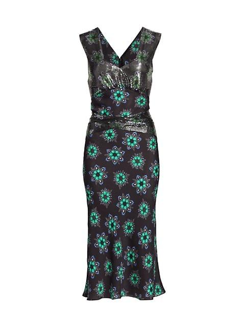 Embellished Floral Midi Dress
