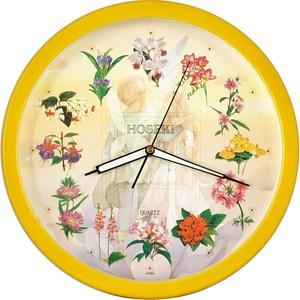 【鐘情坊 JUSTIME】14吋 簡約易讀 設計百搭款亮彩花園夜光掛鐘夜光花面黃色框