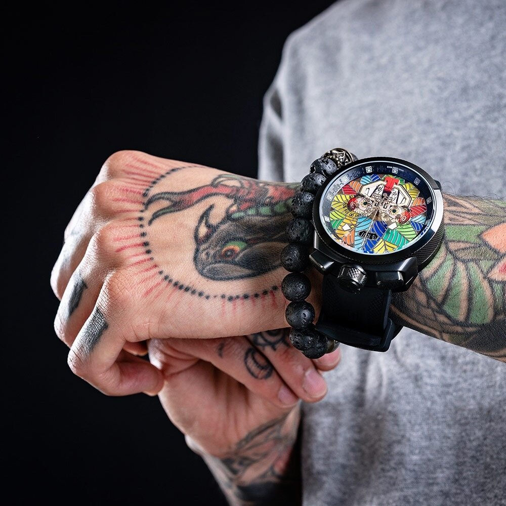 BOMBERG 炸彈錶 特別版 BOLT-68 阿茲提克羽蛇神計時碼錶 手錶(BS45CHPBA.QUETZ1.3)