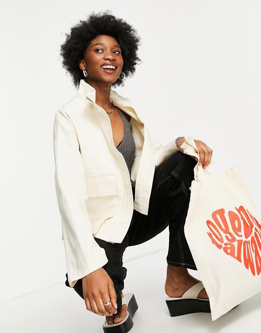 ASOS DESIGN washed pocket jacket in cream-White