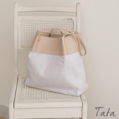 皮革拼接編織肩背包 TATA