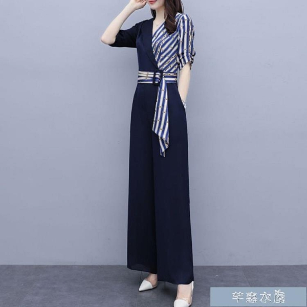 職業套裝夏季新款高腰連衣褲顯瘦休閒時尚褲子時尚氣質闊腿連體褲女薄 快速出貨 快速出貨