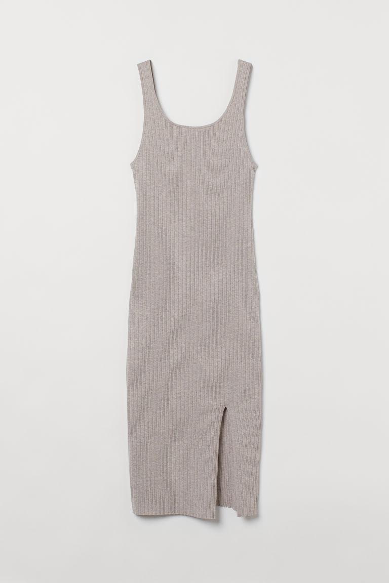 H & M - 開衩羅紋洋裝 - 褐色