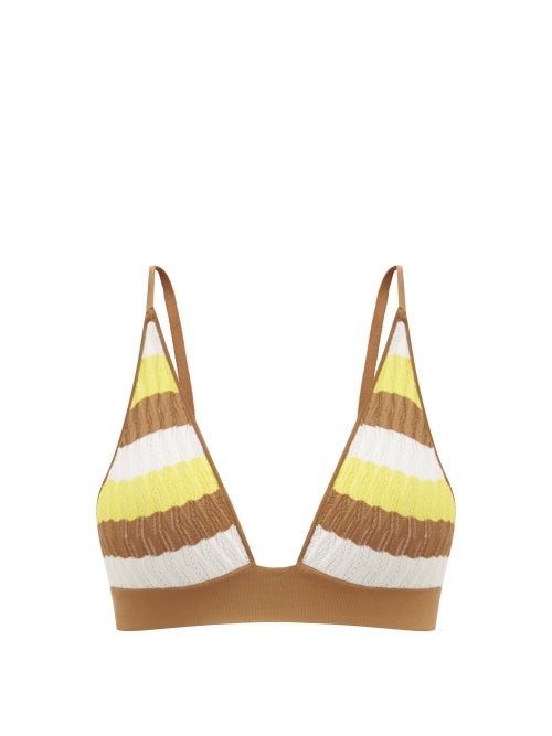 Dodo Bar Or - Robin Striped Pointelle-knit Triangle Bra - Womens - Yellow Multi