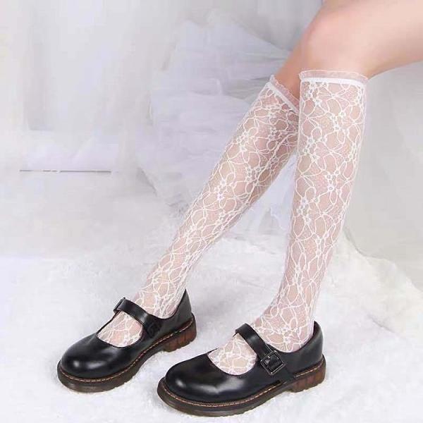 小腿襪小花歐根紗蕾絲木耳邊中筒襪及膝襪【慢客生活】