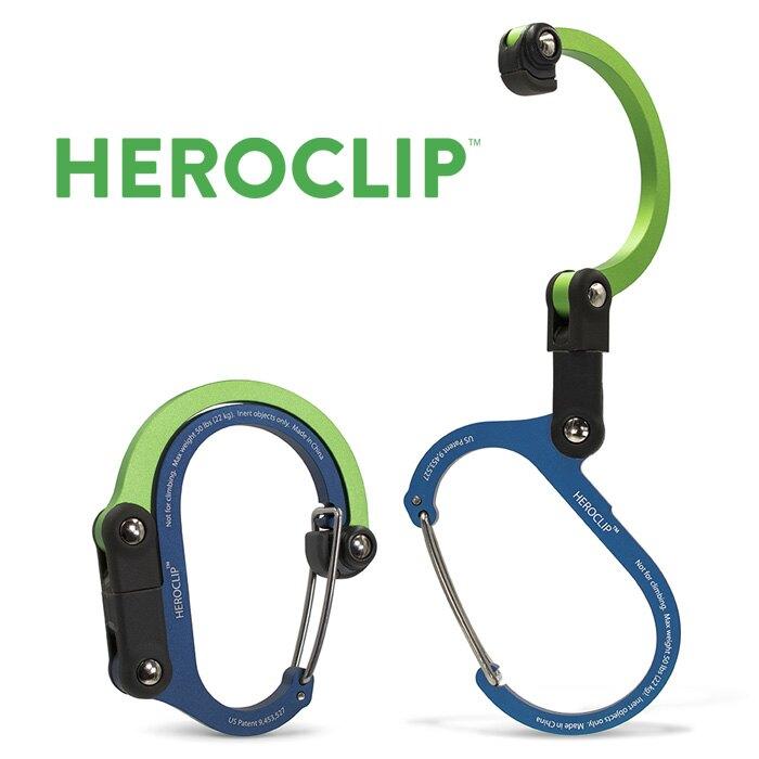 【Heroclip 美國】Heroclip 多功能扣環掛勾-藍/綠色 旅行掛勾 登山掛勾 露營掛勾/210013-433