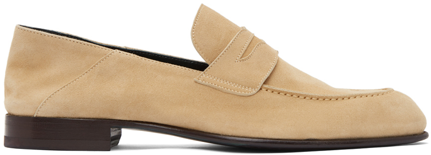 Brioni 驼色 Penny 绒面革乐福鞋