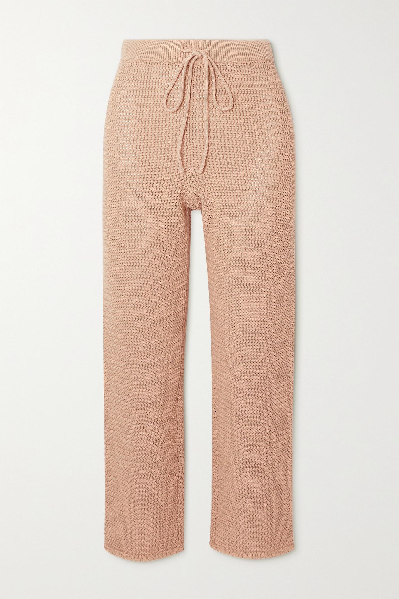 REFORMATION - Rosso 镂空针织有机纯棉窄腿裤 - 棕色 - large