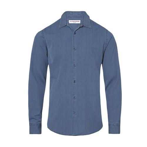 Giles Denim Waffle Classic Collar Denim Tailored Fit Shirt