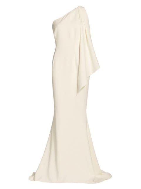 Elvie Stretch Crepe Draped One-Shoulder Gown