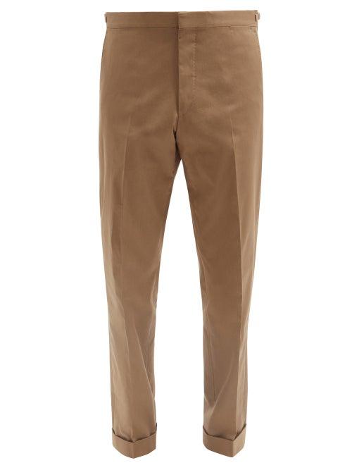 Caruso - Macbeth Cotton-blend Twill Straight-leg Trousers - Mens - Khaki