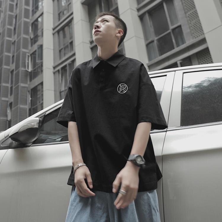 夏季刺繡字母短袖POLO衫男士潮流翻領半截袖寬鬆體恤衫 摩可美家