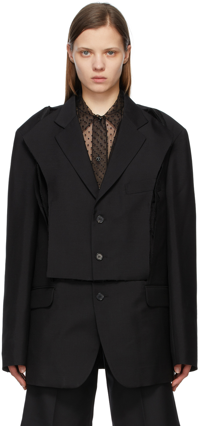 Maison Margiela 黑色 Deconstructed 西装外套
