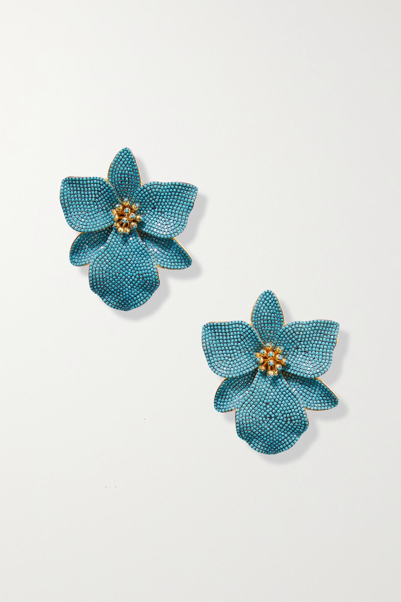 BEGÜM KHAN - Singapore Orchids 镀金、人造绿松石、搪瓷夹扣式耳环 - 蓝色 - one size