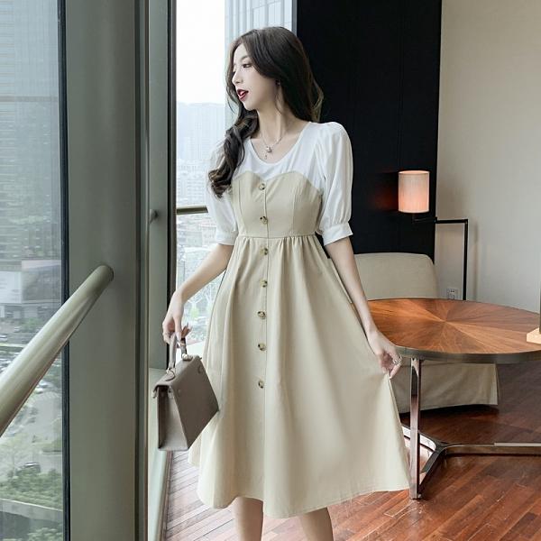 VK精品服飾 韓國風名媛氣質修身拼接長版單排釦短袖洋裝