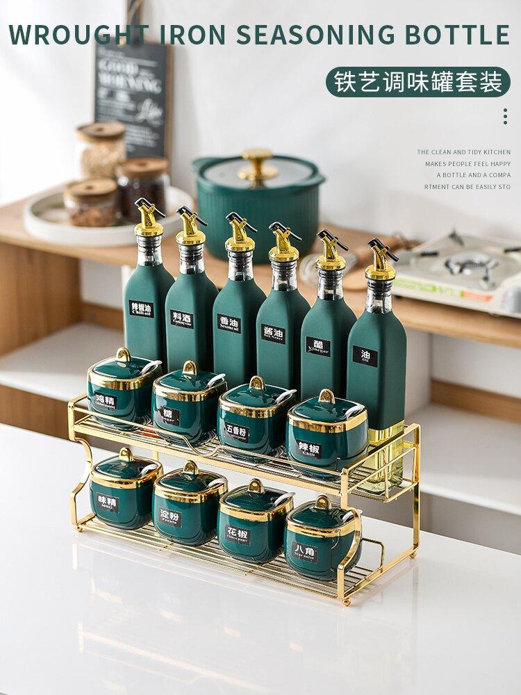 調料盒 廚房輕奢陶瓷調料盒醬油瓶組合套裝家用鹽糖調味罐調料罐子置物架【星空物語】TLH9