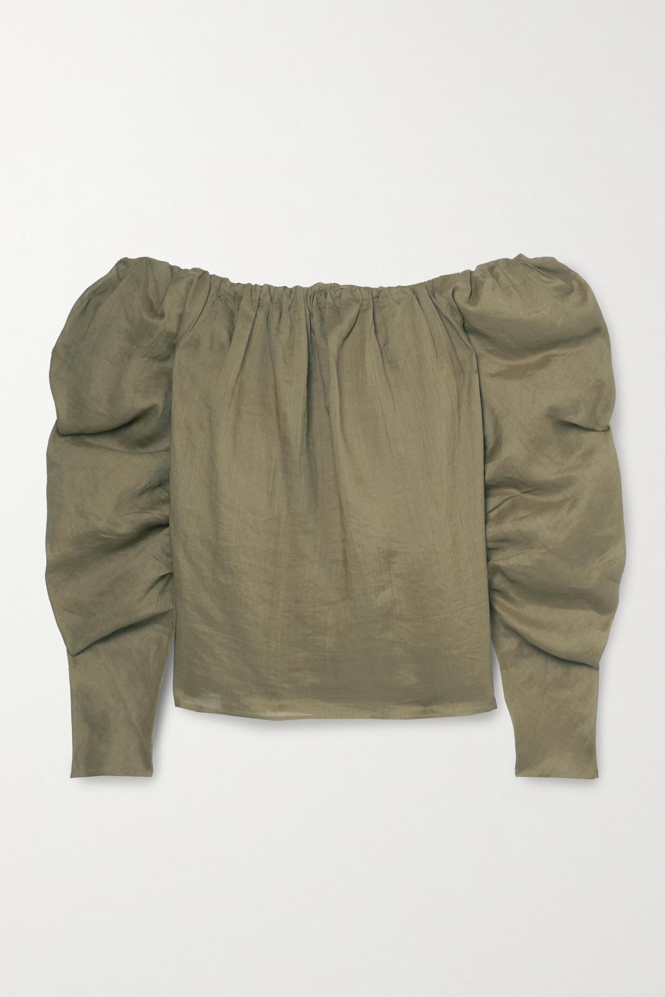 FRAME - 露肩苎麻女衫 - 绿色 - small