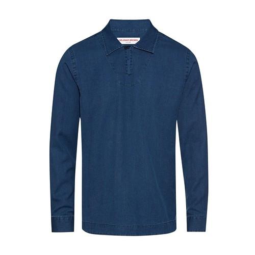 Phillips Denim Waffle Resort Collar Denim Relaxed Fit Shirt