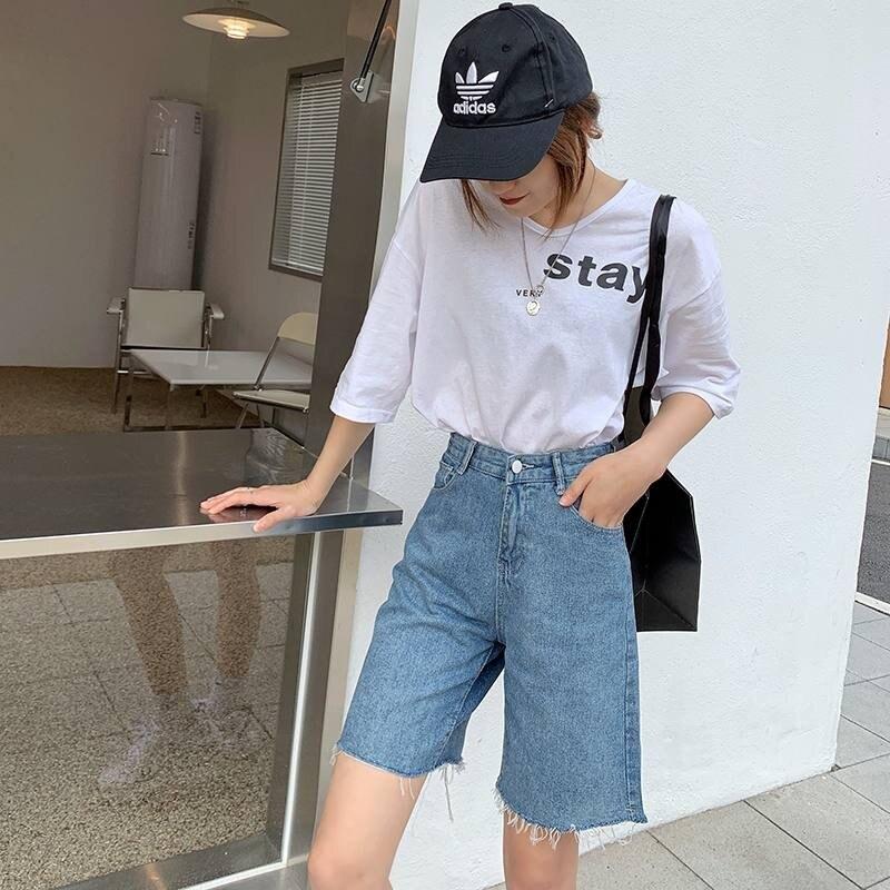 S-2XL  寬鬆顯瘦五分直筒牛仔短褲