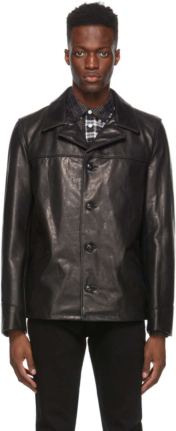 Schott 黑色 544 Car 皮革大衣