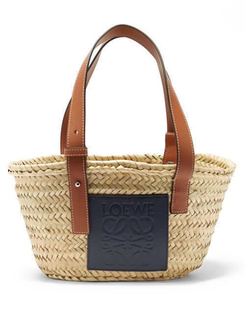 Loewe Paula's Ibiza - Small Raffia Basket Bag - Womens - Blue Multi