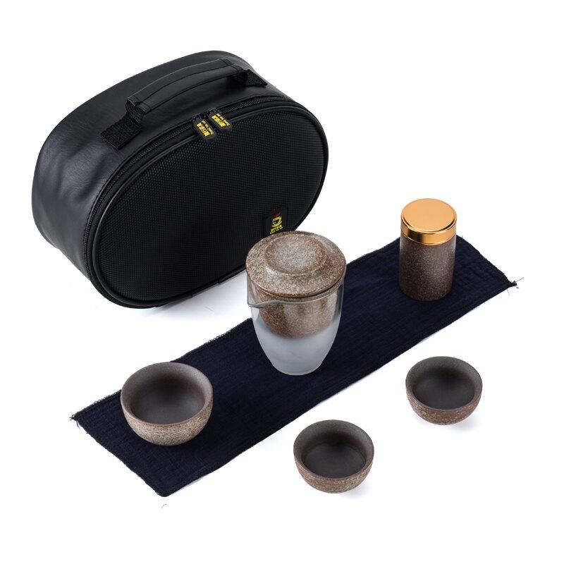 旅行茶具套裝便攜式功夫迷你簡約粗陶車載家用戶外旅游紅茶泡茶器