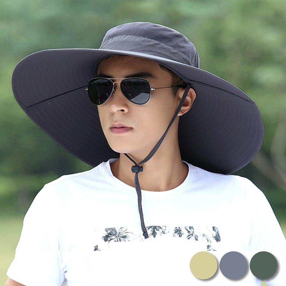 活力揚邑 15CM寬大帽檐戶外防曬吸濕快乾漁夫帽透氣排汗遮陽帽