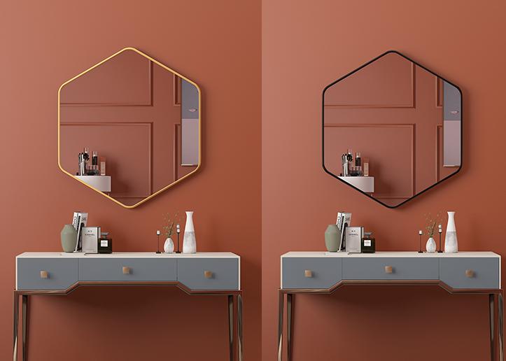 70cm 鏡子 六邊鏡 化妝鏡 浴室鏡 防水鏡子 六邊形拉絲黑框金框化妝玻璃鏡子異形防爆現代浴室鏡子