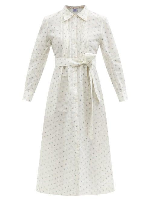 Thierry Colson - Wilda Dot-print Cotton-blend Voile Shirt Dress - Womens - White Print