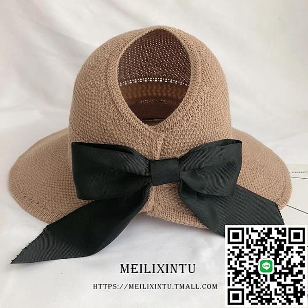 草帽太陽帽女空頂帽大帽檐可折疊大沿帽夏涼帽防曬帽子【海闊天空】