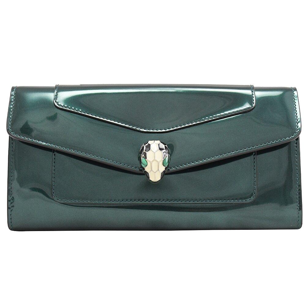 BVLGARI 寶格麗 專櫃商品 283675 琺瑯蛇頭亮面漆皮扣式長夾.祖母綠