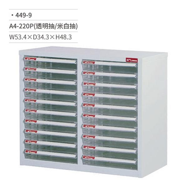 SHUTER 樹德 A4-220P效率櫃/資料櫃(透明米白/共20抽)449-9