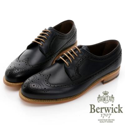 【BERWICK】西班牙進口-固特異手工縫線立體雕花牛津鞋 -深藍 035010KM