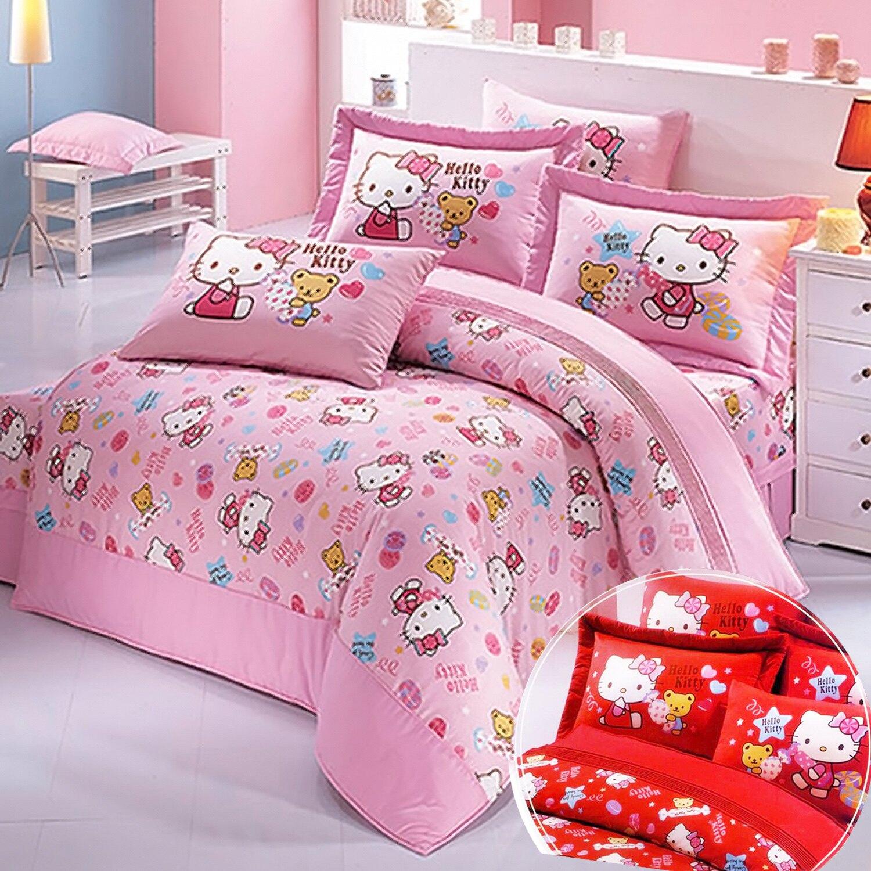 【蓁妮絲 jennysilk】Hello Kitty.我的甜心寶貝.100%純棉.加大單人床包組兩用鋪棉被套全套.居家寢具家飾