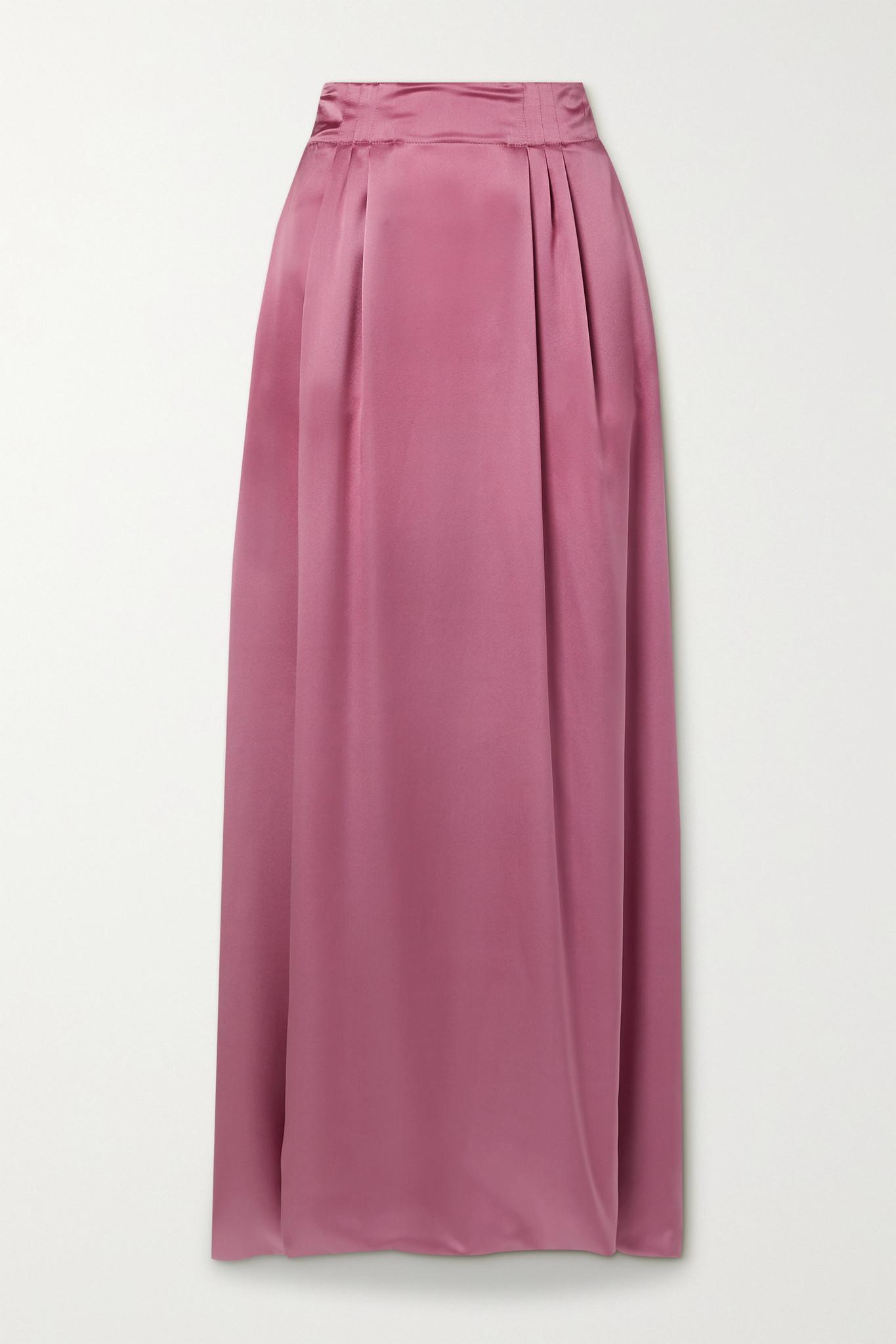 SALVATORE FERRAGAMO - 褶裥丝缎超长半身裙 - 粉红色 - IT42
