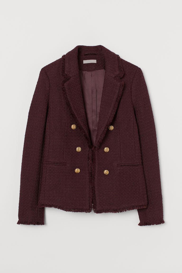 H & M - 紋理感羊毛混紡外套 - 紅色