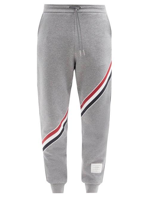 Thom Browne - Tricolour-print Cotton Track Pants - Mens - Grey