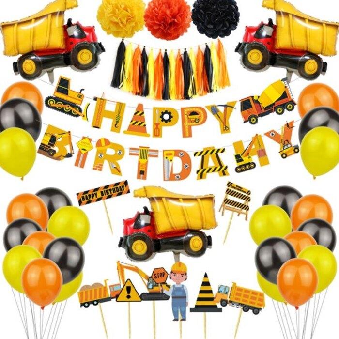 [Hare.D]豪華款 工程車 生日氣球套組 運土車 派對拉旗 生日拉旗 氣球 佈置 慶生裝飾