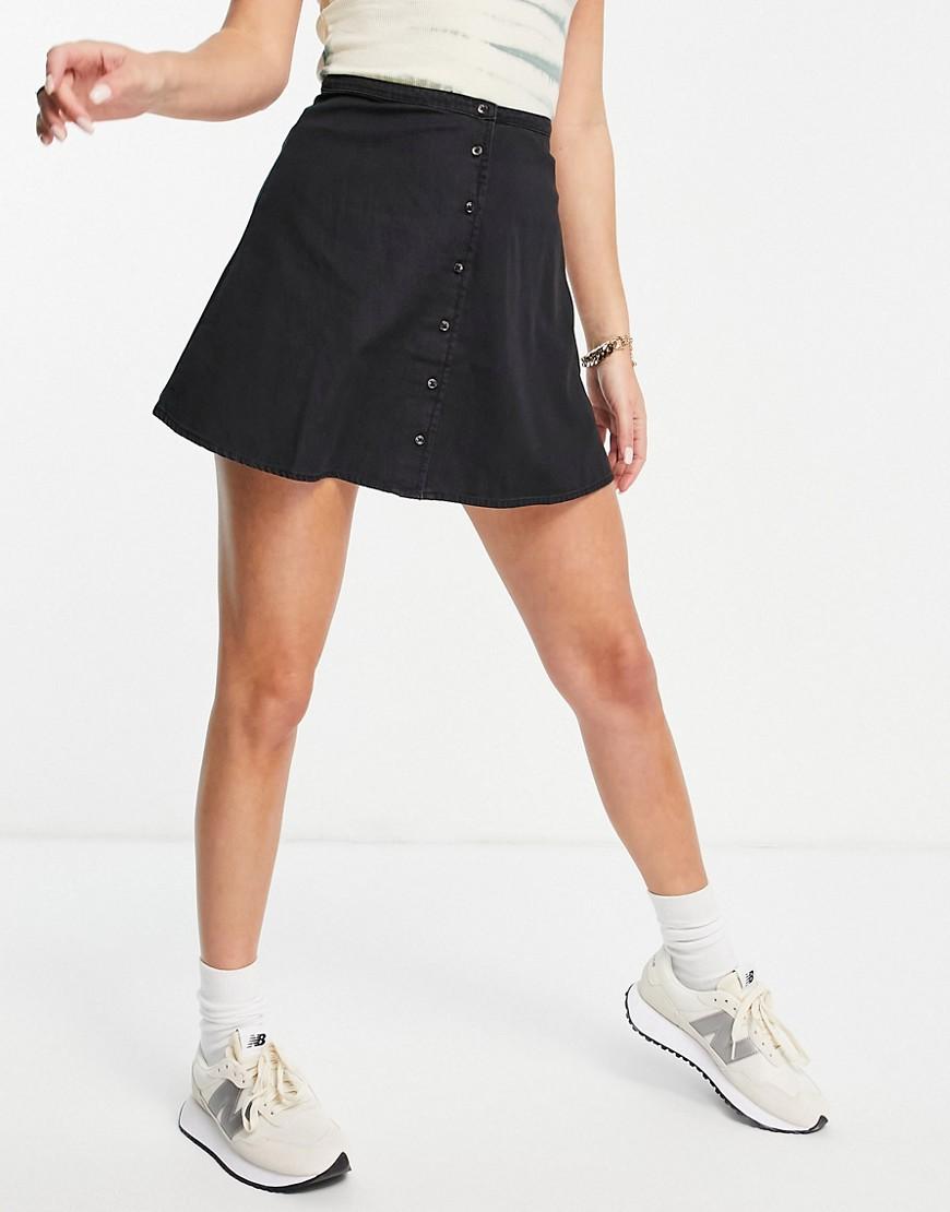 ASOS DESIGN soft denim button through skirt in washed black