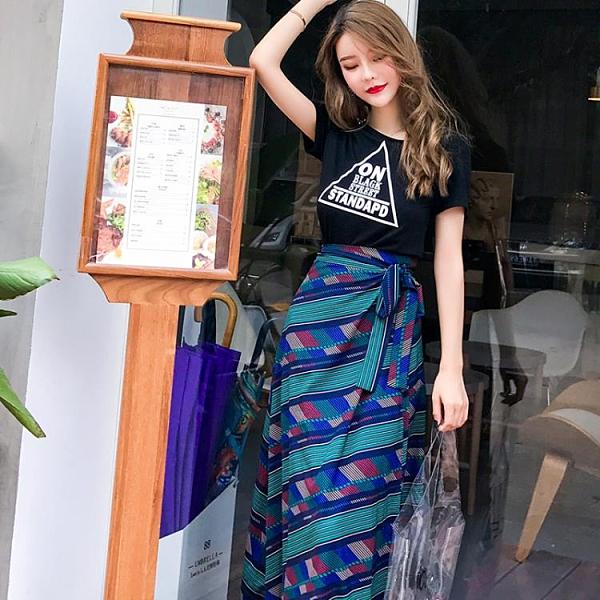 棉麻半身裙 2021夏裝新款原宿風棉麻半身裙復古一片式印花半身長裙圍裙大擺裙 小衣裡