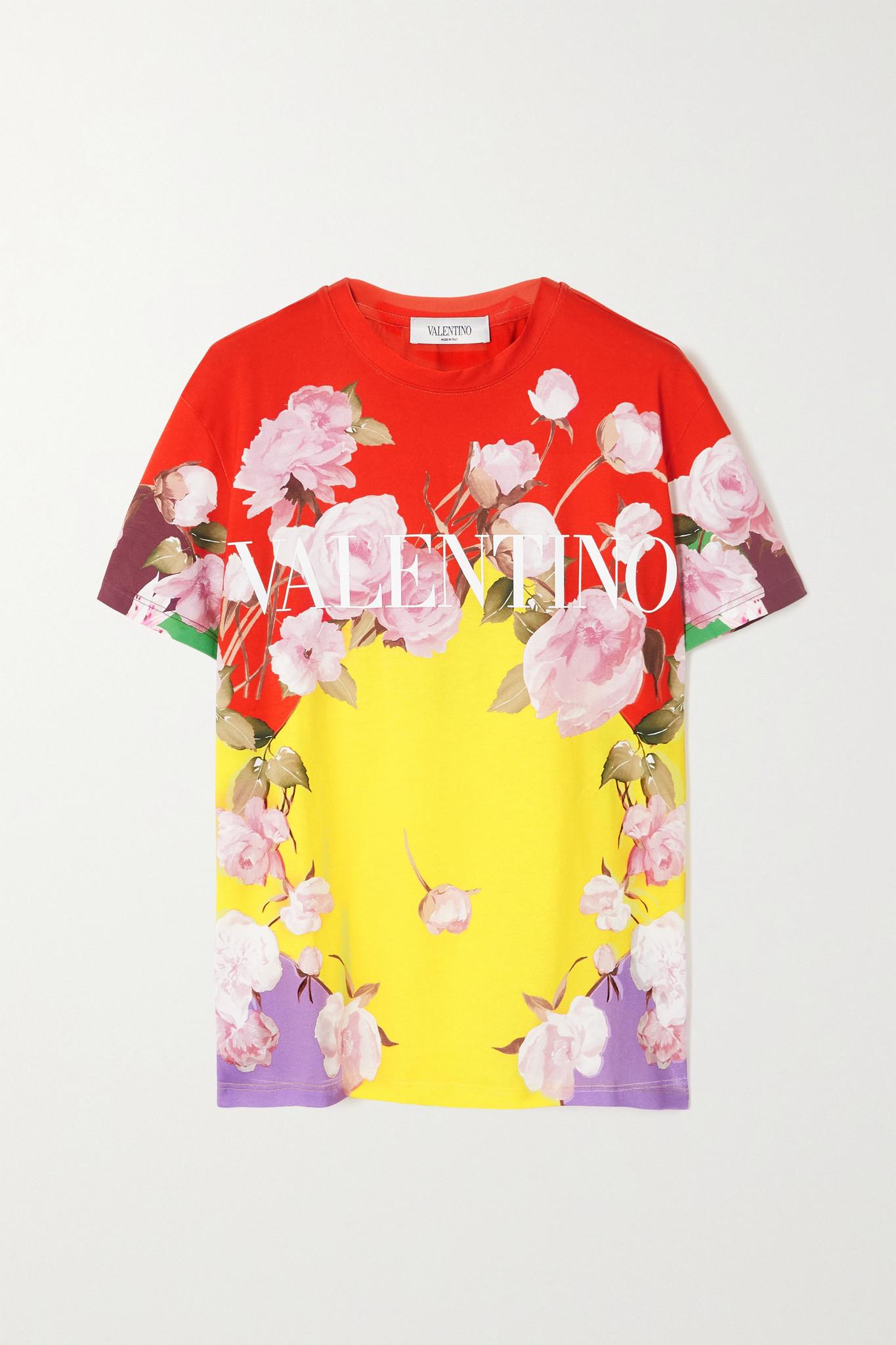 VALENTINO - 印花纯棉平纹布 T 恤 - 黄色 - medium